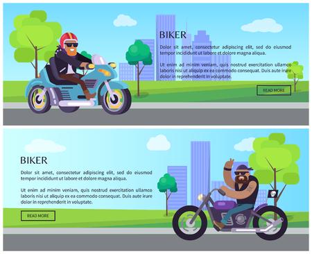 Paseo en motociclista al trabajo, carteles web de eventos anuales establecen la bicicleta de promoción como medio de transporte ecológico vecto bicicleta, edificios rascacielos en el fondo