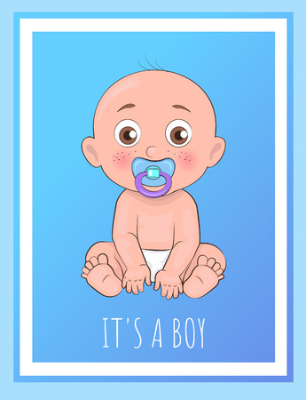 Its a boy poster newborn toddler with pacifier in mouth and dressed in diapers vector illustration of bold toddler boy isolated on blue in frame