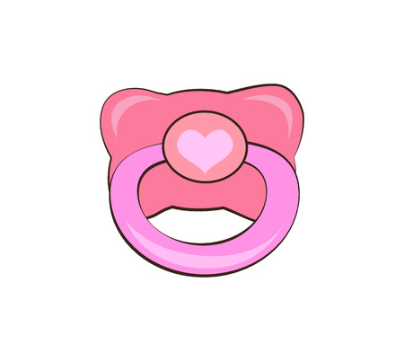Pink pacifier with heart vector illustration isolated on white. Baby s dummy, nipple icon for toddler girl, infant soother in flat design cartoon style