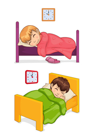 Bed time for little children in cozy beds set. Girl and boy sleep at night under soft blankets. Kids have long rest isolated vector illustrations.