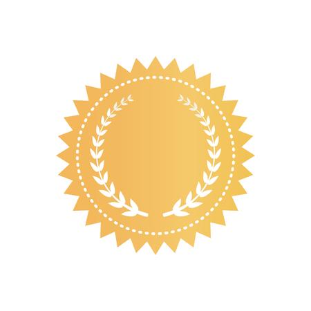 Certificat en or rond avec couronne de laurier