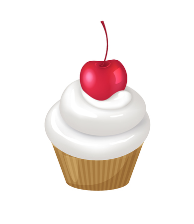 Cupcake with cherry on top of whipped cream swirl. Delicious dessert that has fruit and dairy product as ingredients isolated vector illustration.