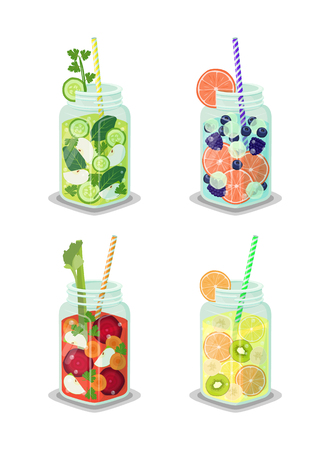 Detox beverages collection poured in jars, mugs set containing liquids with cucumber slices, banana pieces, grapefruit isolated on vector illustration