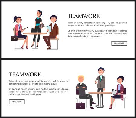 Praca zespołowa w biznesie jako główny składnik banerów internetowych. Pracownicy przy stole z dokumentami wspólnie opracowują projekt na ilustracjach wektorowych plakatów.