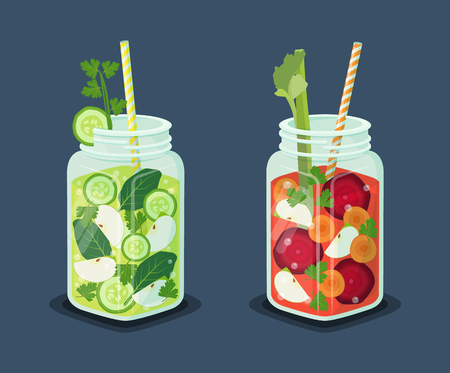 Detox energetic cocktails set, drinks of refreshing organic cucumber, bay leaves, slices of apple, ice cubes, beets and carrots vector vegetarian beverages Ilustracja