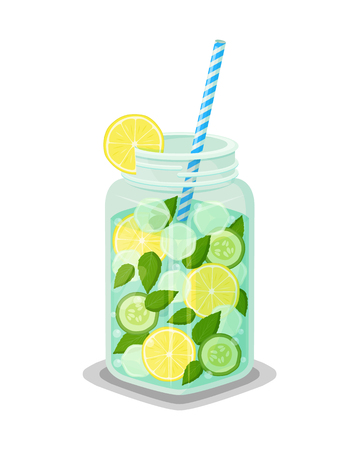 Mug of refreshing drink containing organic green cucumber, mint leaves, round slices of lemon, ice cubes vector dieting cocktail with straw isolated