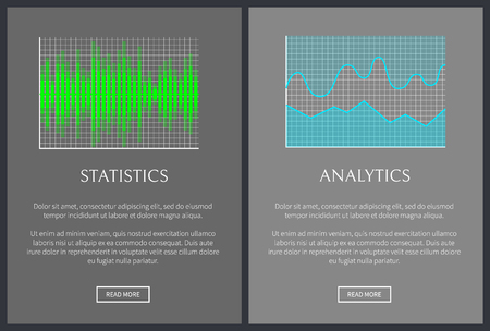 Statistics and analytics charts vector banner, illustration with green and blue analytical diagrams, text sample and push buttons, stat graphs set