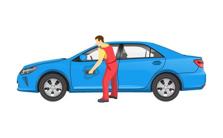 Mechanic in Uniform Washes Car After Repairment Reklamní fotografie - 106743184