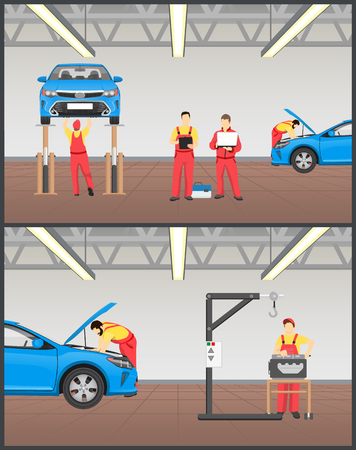 Suspended car on stand and engine service banner, vector illustration of professional automobile workshop with mechanics doing vehicles inspection