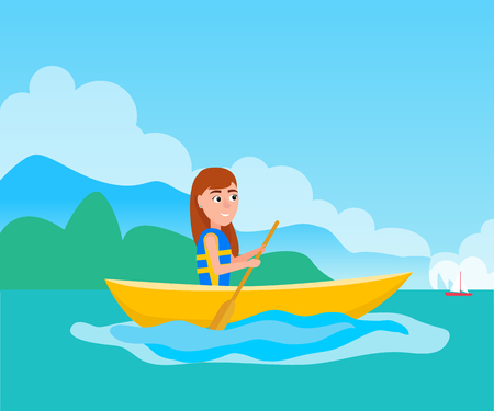 Kayaking girl sitting in boat and holding oar, summer sport activity outside, vector illustration at background of coastline in sea Illustration