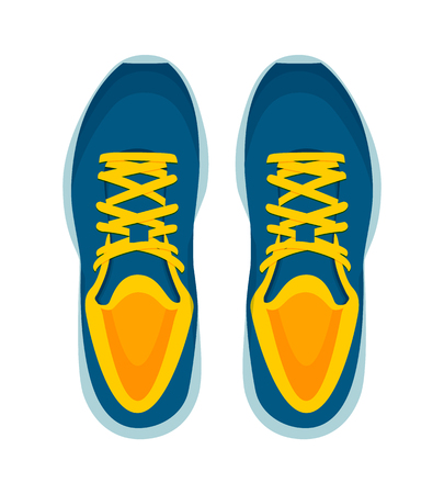 Modern sneakers pair isolated on white background, cozy sportswear, vector illustration, colorful footwear, blue sport shoes with bright yellow laces.