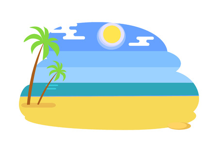 Seaview seascape with tropical beach, summer vector illustration of yellow sand, two palm trees and blue sea or ocean at coastline isolated on white.