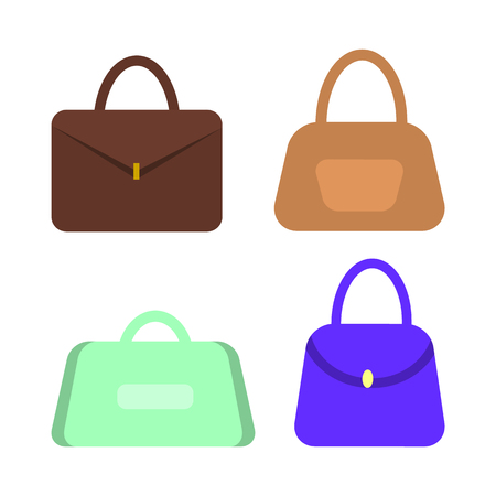 Women handbags with handles. Stylish purse or bag that has clips, female fashionable accessories set for girls isolated vector illustration on white.