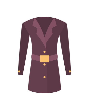 Women coat with belt outer garment extending to hips with sleeves and fastening down the front. Vector illustration of purple jacket isolated on white