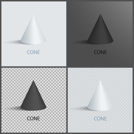 Cone icons set on dark, light and transparent backgrounds. Three dimensional geometric shapes with sign. 3D figures isolated vector illustrations