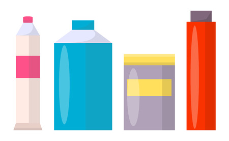 Tubes and jars of all shapes with colorful paints. Liquids to create pictures in capacious and thin containers isolated cartoon vector illustrations.