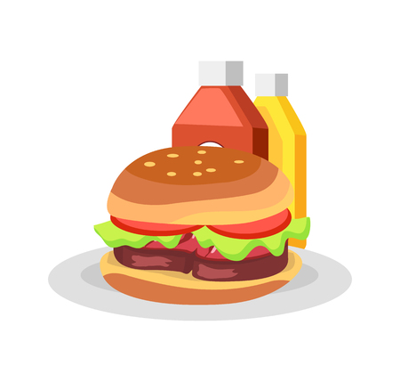 Burger in plate and sauces. Barbecue party with tasty meal. Big hamburger, bottles of ketchup or mustard isolated cartoon flat vector illustration.