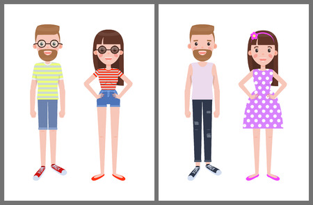 Man next to woman in everyday apparel. Male or female wears summer mode clothes, dotted dress with glasses, shorts and t-shirt vector illustration.