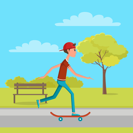 Skateboarder moving forward on high speed at skatepark side view. Teenager has walk with skate, trees and bench in background, vector illustration.