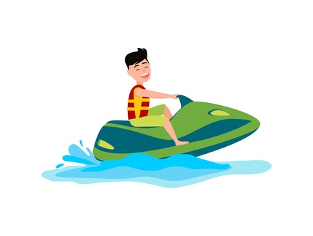 Jet ski summer activity sea, man wears life-jacket and smiles, seasonal sport with splashes of water vector illustration, isolated on white