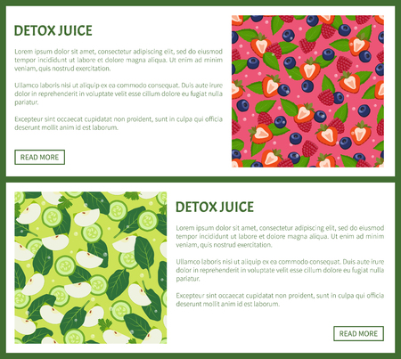Detox Juice Poster Ingredients of Refreshing Drink Illustration