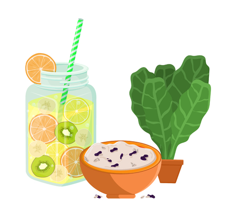 Vegetarian food poster refreshing summertime detox diet juice of grapefruit, kiwi and lemon and bowl of rice porridge with raisins, bay leaves in pot