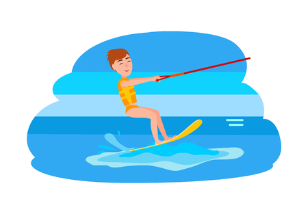Kitesurfing action sport combining aspects of wakeboarding windsurfing surfing paragliding skateboarding and sailing into extreme activity vector boy. Vectores