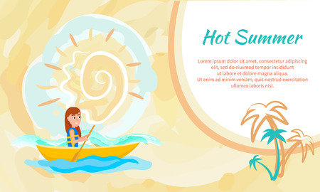 Hot summer poster with girl kayaking sitting in boat and holding oar, seasonal activity outside sport, cartoon vector advertising brochure template. Vectores
