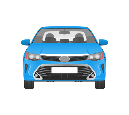 Modern Practical Car in Blue Corpus Front View