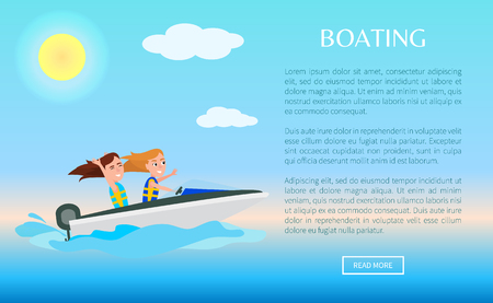 Web poster activities in summer, girls having fun riding boat, boating and water of sea, sport activity, vector on blue sea background