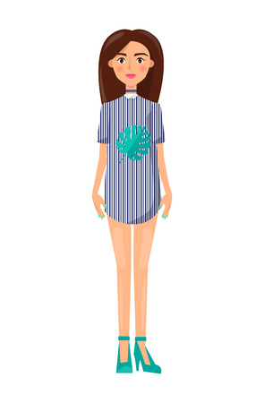 Girl in short dress with collar and stilettos. Woman in stylish striped clothes with stripes and green leaf print isolated cartoon vector illustration.