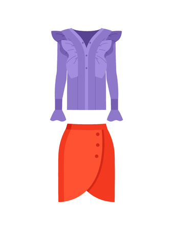 Beautiful lilac shirt with waved decorative elements and bright red skirt with three buttons, color poster, vector illustration isolated on white 向量圖像