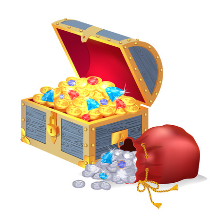 Old chest full of treasures and silver bag of silver coins. Ancient money and shiny gemstones in containers isolated cartoon vector illustration Illustration