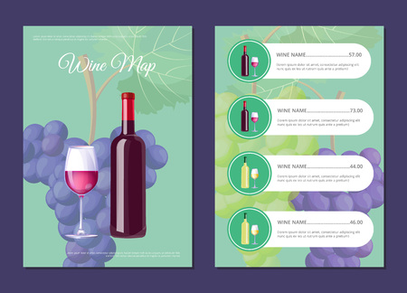 Stylish wine map cover and page with prices. Bottle and glass of red vino on front and price list. Delicious alcohol drinks menu vector illustration Ilustração