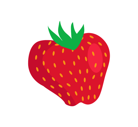 Fresh strawberry isolated icon, vector banner, vitamin fruit, seasonal sweet berry, product with green top, colorful illustration, lot of small seeds.