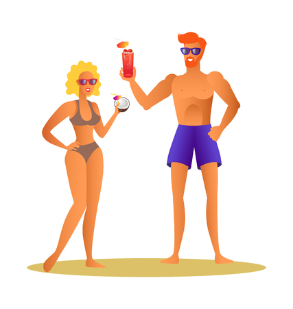 Merry couple drinks cocktails during summer. Man in shorts and glasses, woman wears bikini with bra, beverage from coconut, vector lovers summertime.