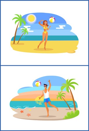 Guy and girl play with ball at coastline of tropical sea shore cartoon vector illustration, man near woman does sports on exotic golden sandy beach. Stock Vector - 106506329