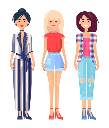 Summer Mode Clothing Collection, Colorful Poster Illustration