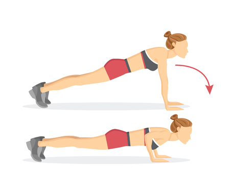 Push ups tabata exercises, fitness programme for arms strengthening, woman demonstrating correct position isolated cartoon flat vector illustration.