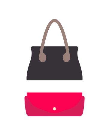 Stylish female leather handbag and small purse set. Fashionable modern universal accessories. Feminine bags isolated cartoon vector illustrations.