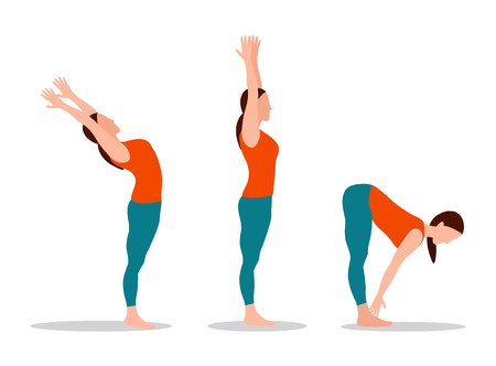 Woman does yoga set, mountain with raised hands, physical activities and sport, position touching toes cartoon vector illustration isolated on white.
