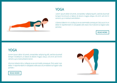 Yoga poster, plank and forward hold postures, fitness poses for sport healthy lifestyle, text sample, isolated cartoon flat vector illustrations set.