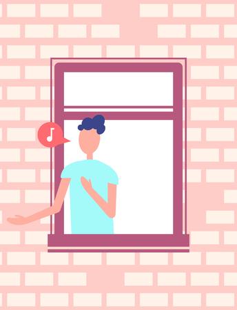 Man Singing Song or Speaking Window, Brick Wall
