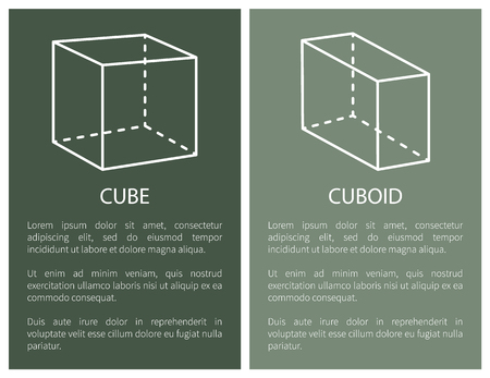 Cube and cuboid geometric shapes simple figures sketches made from lines or dashes, square projections vector illustrations posters with text set. Illustration