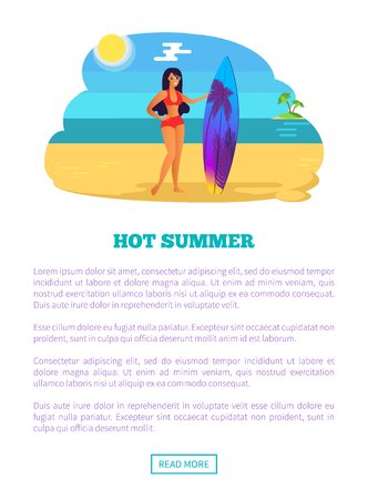 Hot Summer Web Poster Tropical Beach and Woman Illustration