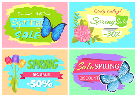 Discount 45 off only today spring sale big springtime discounts set of promo stickers templates with bouquet of tulips, pink daisy and butterflies vector 일러스트