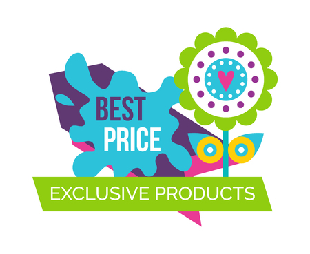 Exclusive products best price springtime label with decorative simple flower with heart in center, spring blooming bud on sale emblem isolated on white