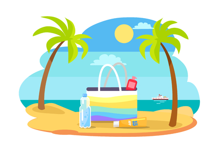 Summertime illustration with bag full SPF sun protection moisturisers coastline, stand on hot sand at seaview, bottle of water and palm trees
