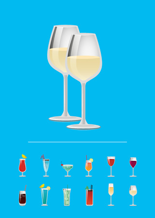 Closeup champagne white wine in glassware, and list of cocktails alcohol drinks in transparent goblets decorated by umbrellas straws vector illustration