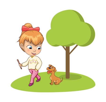 Young Girl Walking Park with Adorable Dog Vector
